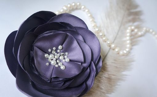 Custom Made Handmade Rose Hair Fascinator With Pearls And Swarovski Rhinestones