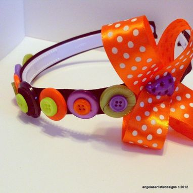 Custom Made Button Headband, Flower Girl