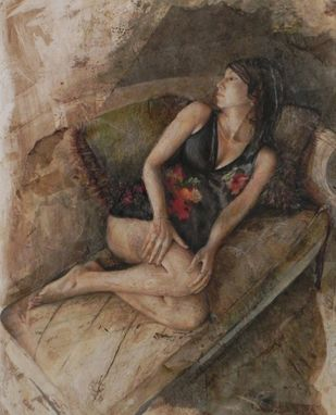 Custom Made Recline In Black Floral, Mixed Media , Figurative