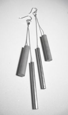 Custom Made Metal And Concrete Cylinder Earrings