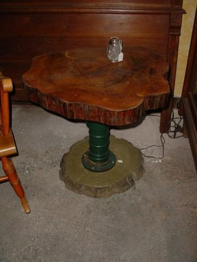 Custom Made Tree Trunk Slab Table W/Metal Pedestal Vintage