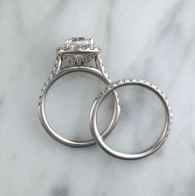 Custom Made Two Ring Wedding Engagement Set In 14k White Gold W/ Diamonds - Setting Only - Cushion Halo