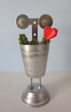 Custom Made Planter - Reboot Robot Planter Made From A Martini Shaker With Cactus