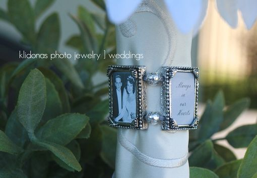 Custom Made Memorial Photo Pewter Bouquet Charm