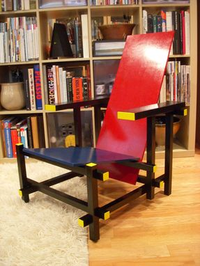 Custom Made Red And Blue Chair By Gerrit Rietveld