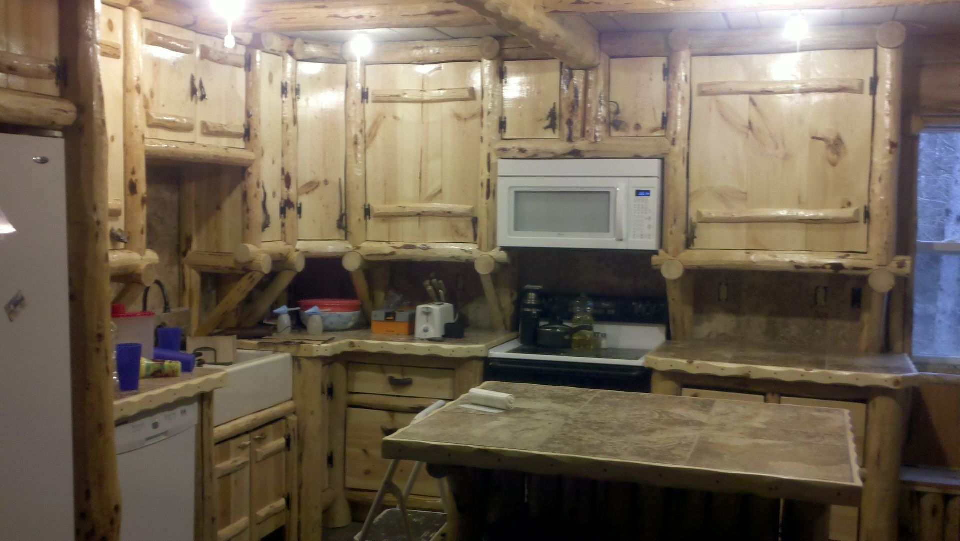 Custom Made Rustic Log Kitchen Cabinets And Bar Handmade by Drew s Up North