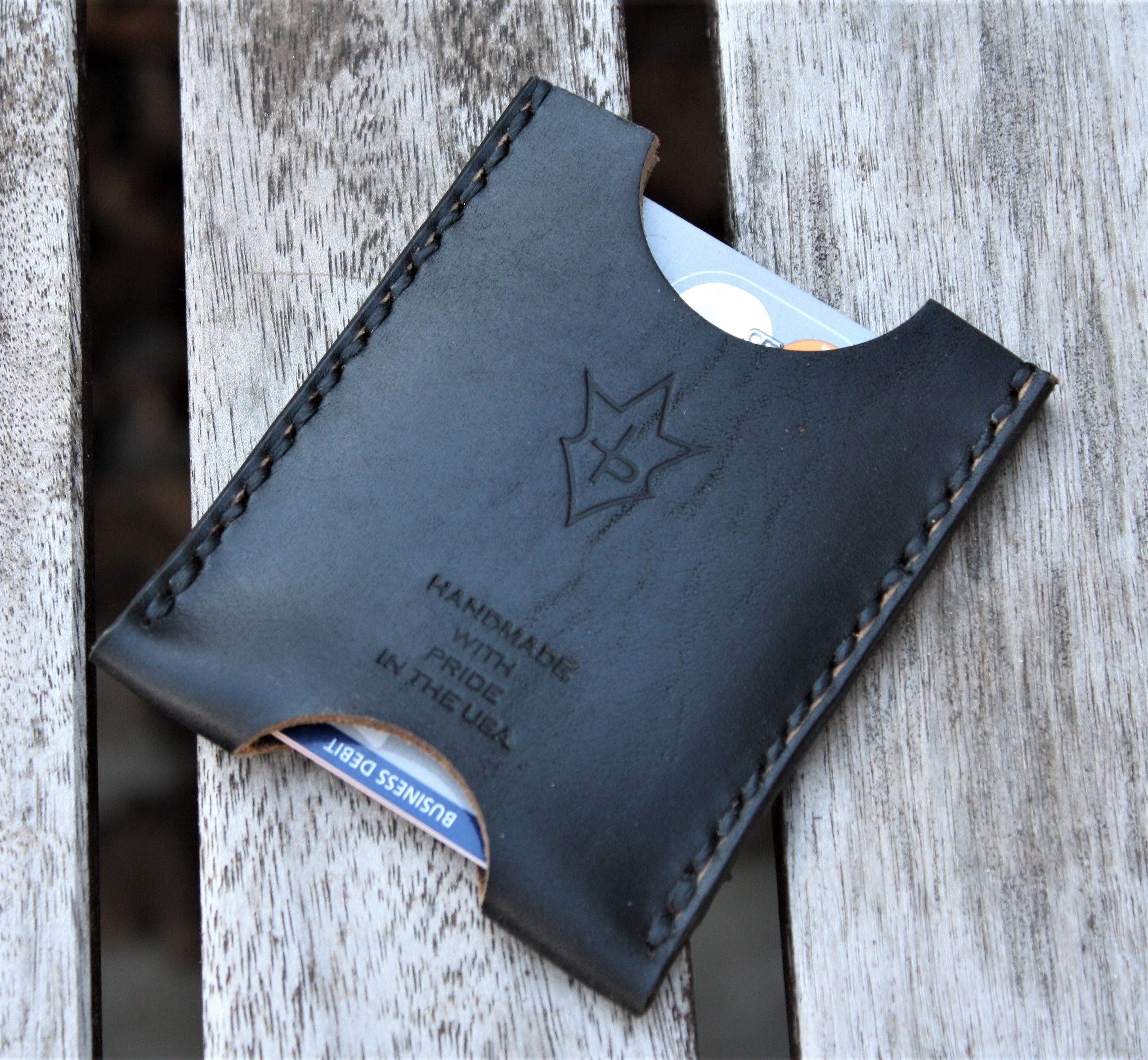 Buy A Hand Crafted Handmade Leather Minimalist Wallet Minus Black