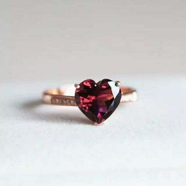 Custom Made 2.2 Carat Rhodolite Garnet Ring 14k In Rose Gold