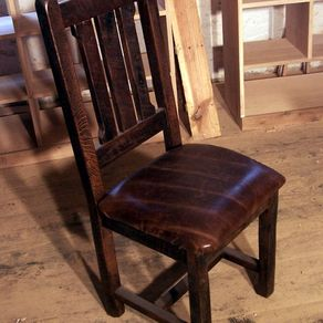 Reclaimed Oak Rustic Mission Dining Chairs With Upholstered Leather Seats By The Strong Woodshop