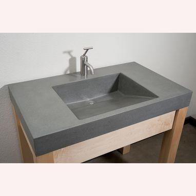 Custom Made Portland Grey Ramp Sink Concrete Vanity With Maple Stand