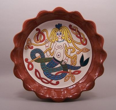 Custom Made Redware Celtic Mermaid Plate