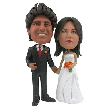 Custom Made Personalized Wedding Cake Topper Of A Beautiful Couple Holding Hands, A Cake Topper That Looks Like The Bride And Groom