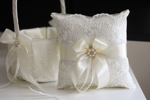 Custom Made Ivory Lace Flower Girl Basket And Ring Bearer Pillow Set
