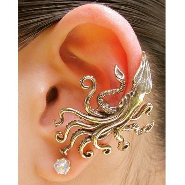 Custom Made Kraken Squid Ear Cuff Bronze