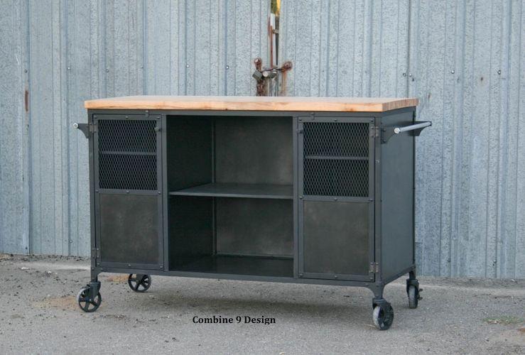 Buy a Custom Made Vintage Industrial Bar Cart / Kitchen Island. Mid ...