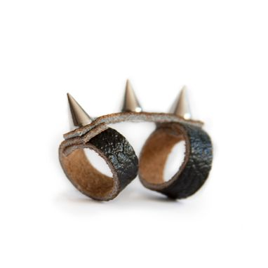 Custom Made Black Spike Ring With Three Spikes, Double Knuckle With Leather Band