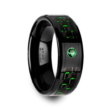 Custom Made Hadar Black Ceramic Ring With Black And Green Carbon Fiber And Green Emerald Setting - 8mm