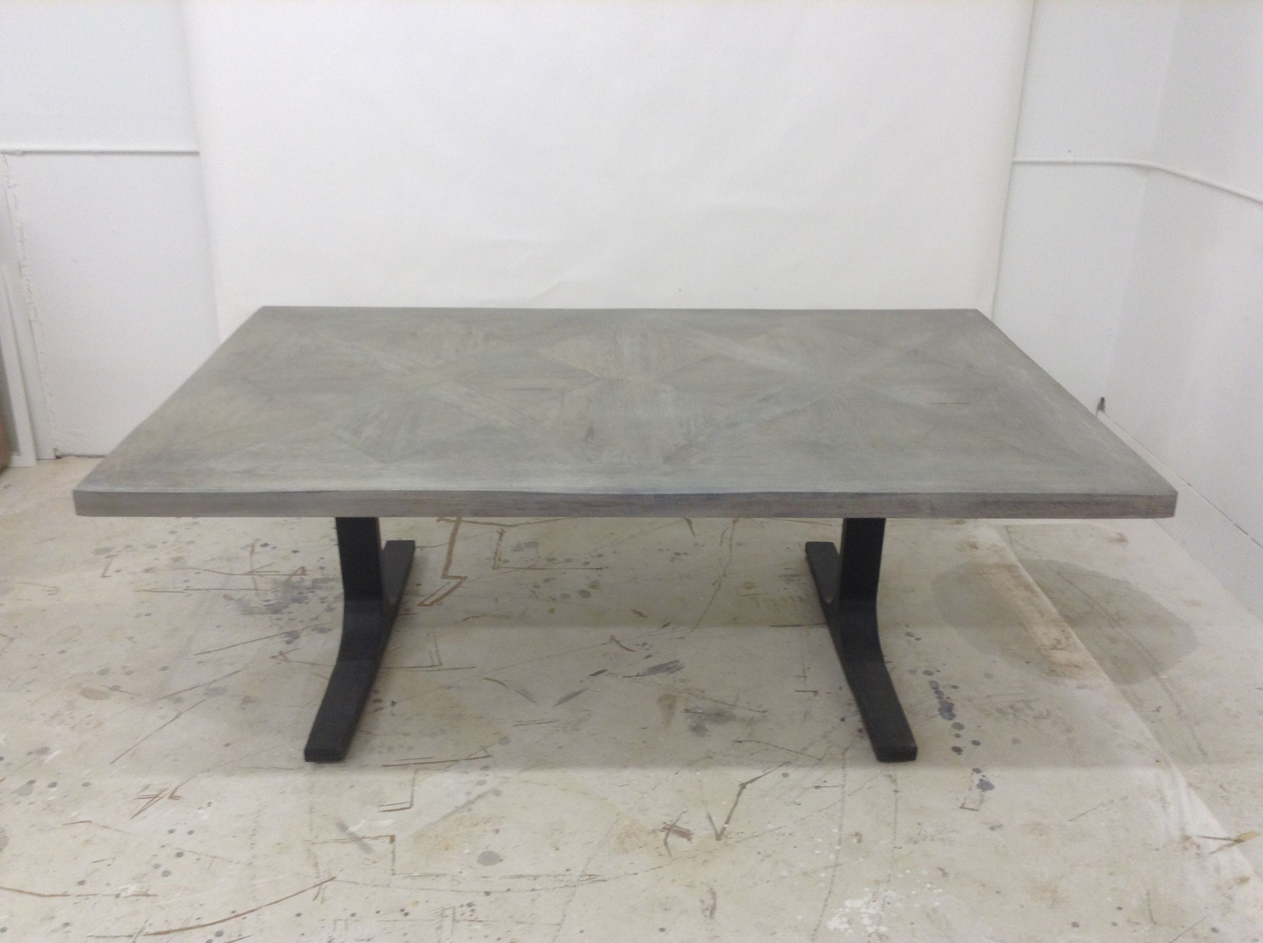 Hand Made Parquet Design Dining Table With Metal Base by Santini