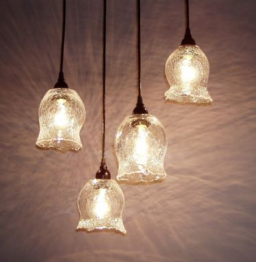Custom Made Tuffo Clear Crackle Pendant Lights