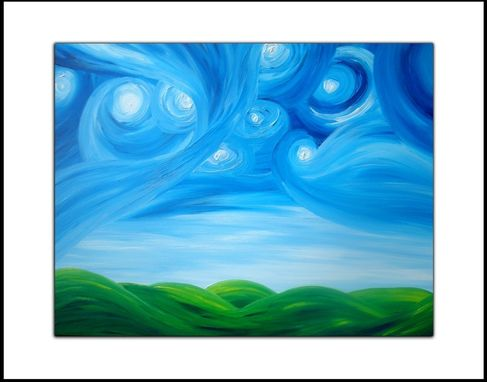 Custom Made Modern Abstract - Night Stars Landscape Painting By Dan Lafferty - Starry Night Above The Hills