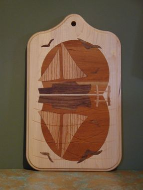 Custom Made Solid Wood Inlayed Cutting Boards, Slice And Dice On One Side, Clean And Hang #4
