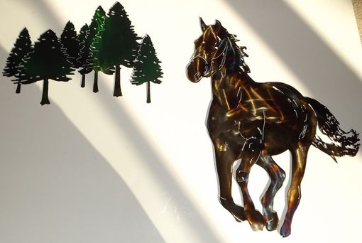 Custom Made Running Horse Metal Wall Art Sculpture