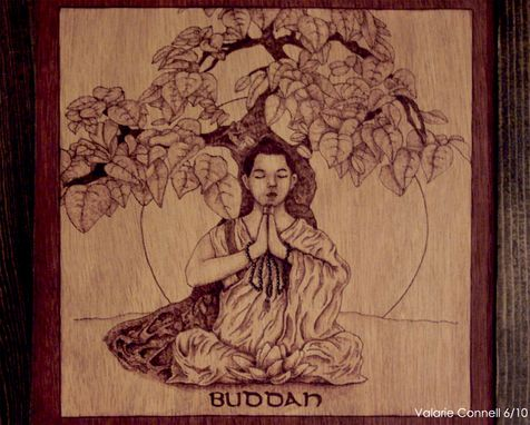 Custom Made Wood Burned 'Buddah' Wall Hanging