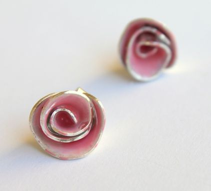 Custom Made Powder Pink Enamel Rose Stud Earrings
