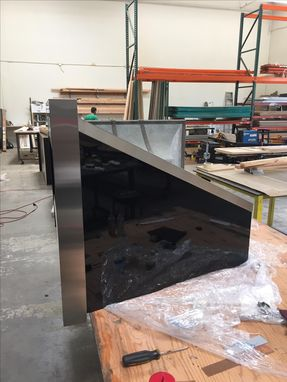 Custom Made #42 Powder Finished Black Range Hood With Stainless Steel Straps
