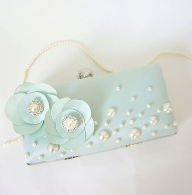 Custom Made Victorian-Inspired Seafoam Green Clutch Purse With Handmade Flowers