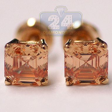 Custom Made 14k Gold 1.00 Ct Champagne Asscher Swarovski Elements Womens Studs Earrings