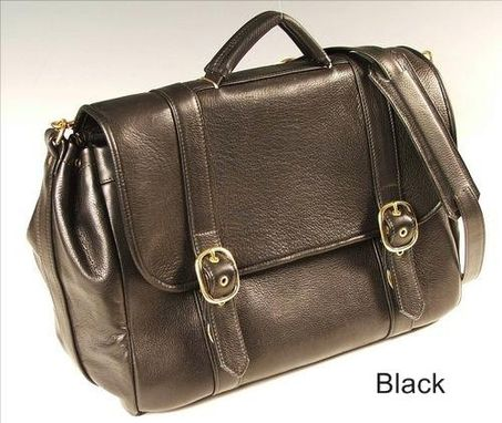 Custom Made Flap Briefcase For Laptop, Black Leather