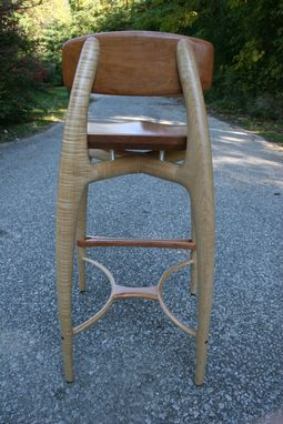 "Custom Made Modern Wood Bar Stool, Counter Stool, Hand Carved Seat And Legs In Cherry And Curly Maple ""Sea Ray"