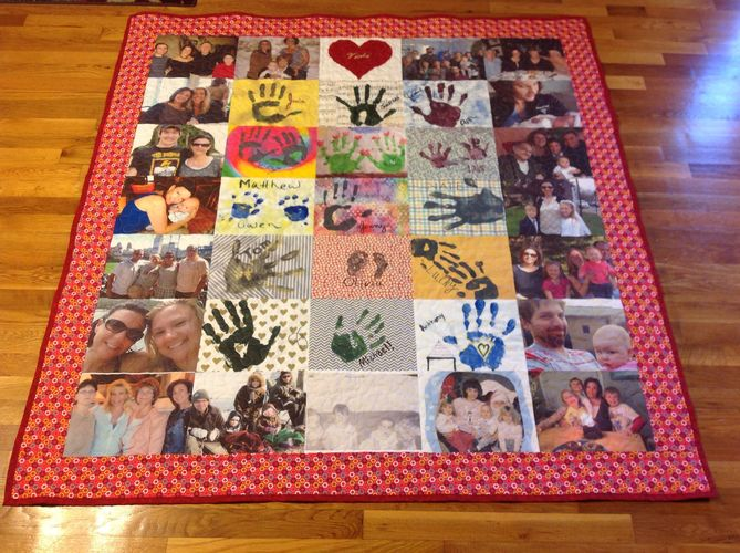 Handmade custom handprint photo memory quilt with applique and