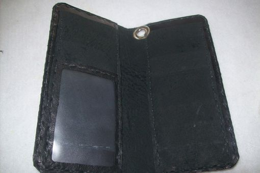Custom Made Custom Leather Biker Wallet With Initials And In Weathered Color