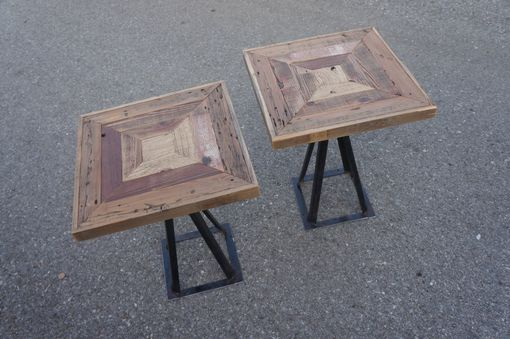 Custom Made Reclaimed Barn Wood Rustic Industrial End Tables
