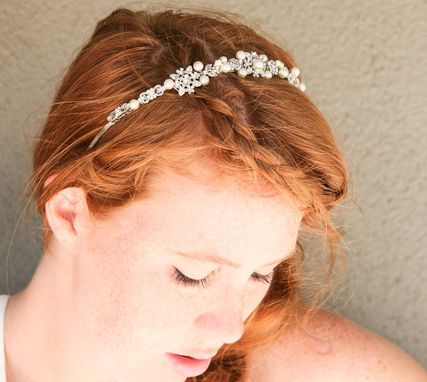 Custom Made Rhinestone And Ivory Pearl Silver Wedding Tiara, Wedding Hair