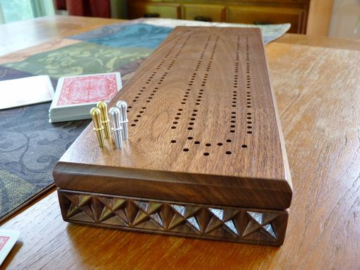 Custom Made Carved Cribbage Board In Walnut Or Cherry Wood