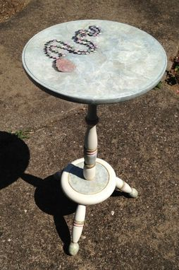 Custom Made Painted Pedistal Table With Trompe L'Oeil Necklace & Faux Marble