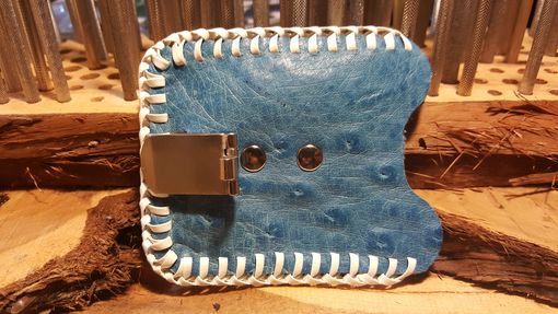 Custom Made Blue Ostrich Card Case/Money Clip With White Lace, Hand Made In The Usa