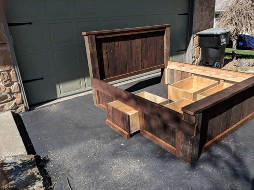 Custom Made Reclaimed Barn Wood Bed, With Drawers And
