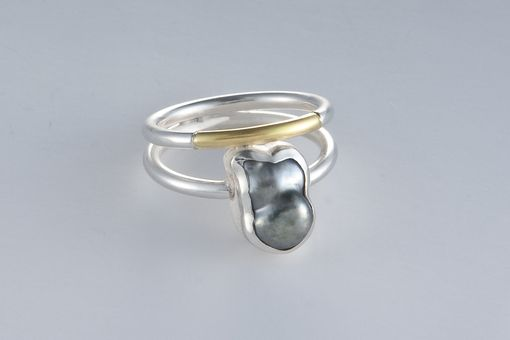 Custom Made Ring - Sterling Silver, 18kt, Cultured Tahitian Keshi Pearl