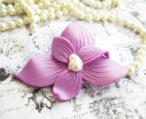 Custom Made Purple Polymer Clay Flower And Freshwater Pearl - Lace Brooch