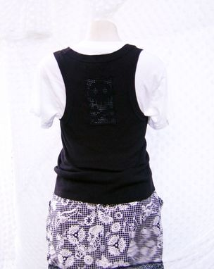 Custom Made Upcycled Sweater Vest With Skull And Bones Insert