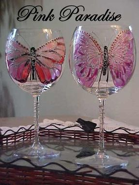 Custom Made Pink :Paradise Butterfly Designed Wine Goblets
