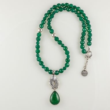 Custom Made Necklace Maha Sterling Silver And Jade Pendant Strung With Facet Cut Green Onyx