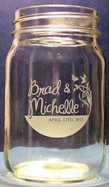 Custom Made Custom Wedding Mason Jar Hand Etched