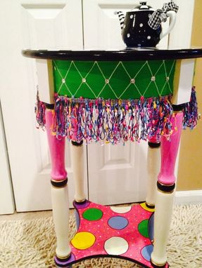 Hand Crafted Hand Painted Round Side Accent Table Custom