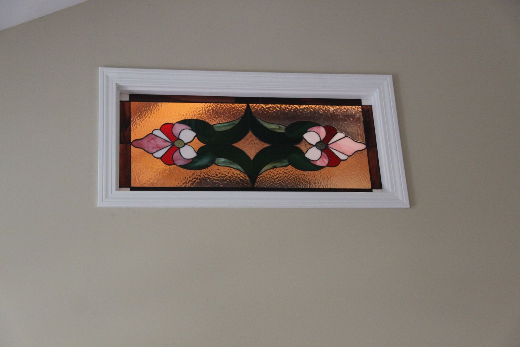 Custom stained glass window in an interior wall by tobias for Glass window wall