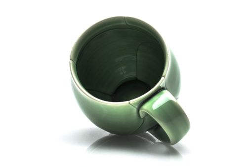 Custom Made Green Porcelain Coffee Cup Leaf Style